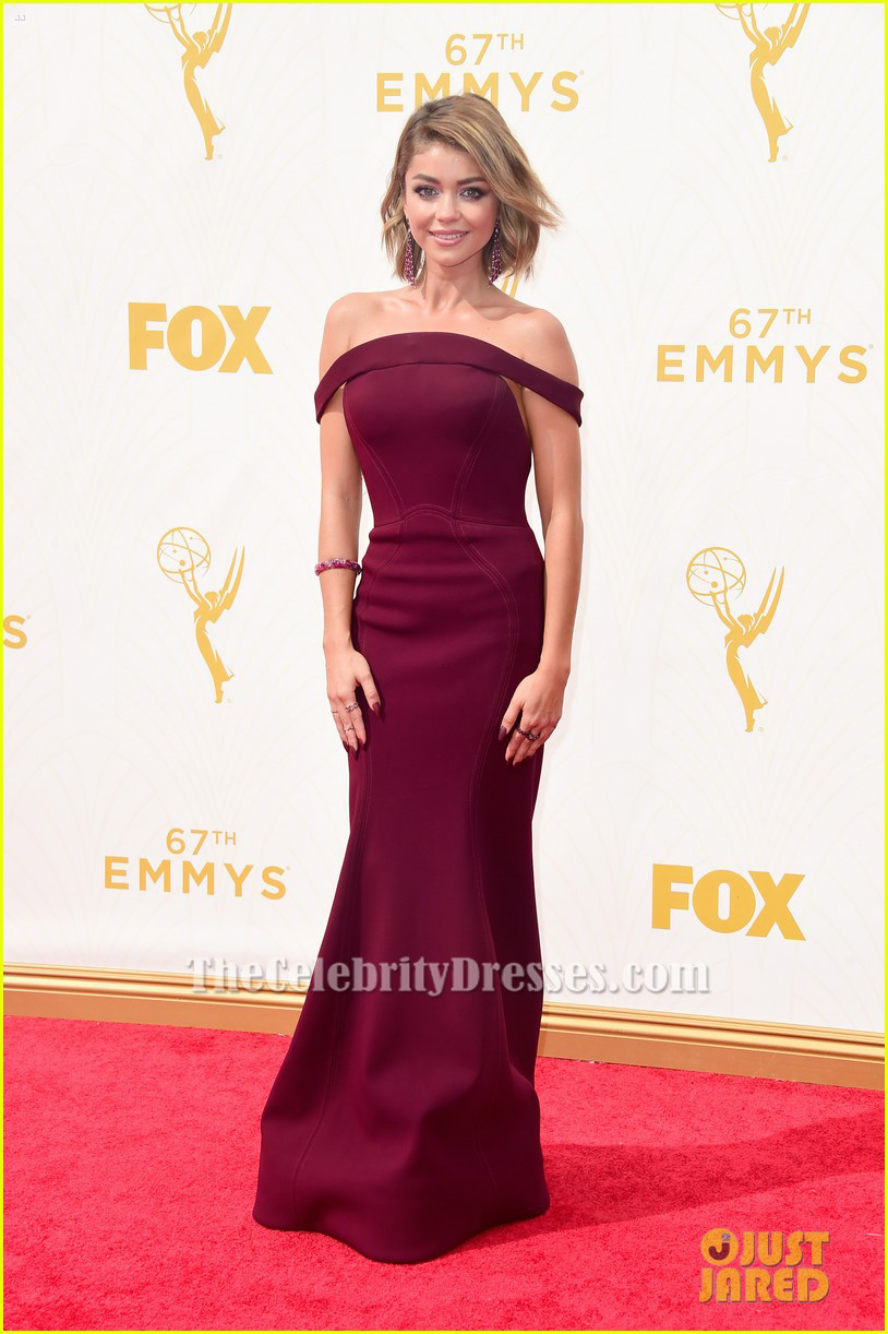 Sarah Hyland Burgundy Off The Shoulder Formal Dress 2015