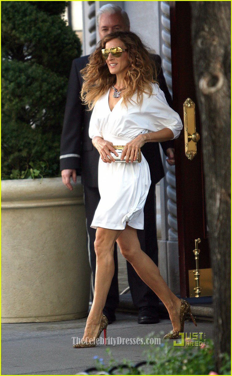 Sarah Jessica Parker White Short Cocktail Party Dress In Sex And The City 2 -9803