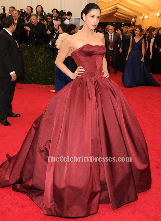 5d12f7c583 Sarah Silverman Burgundy Ball Gown Quinceanera Dress 2014 Met Gala Red  Carpet - TheCelebrityDresses