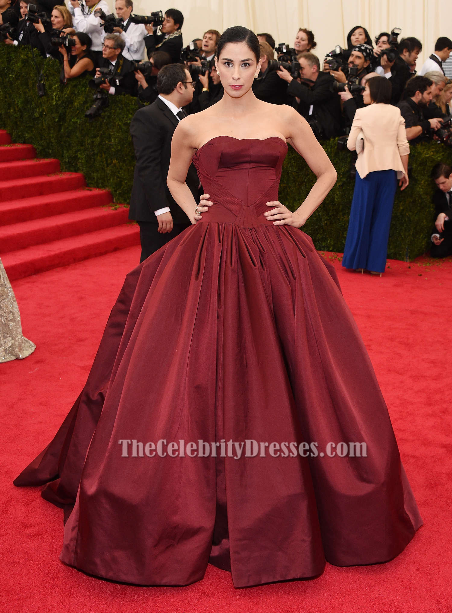 Sarah Silverman Burgundy Ball Gown Quinceanera Dress 2014