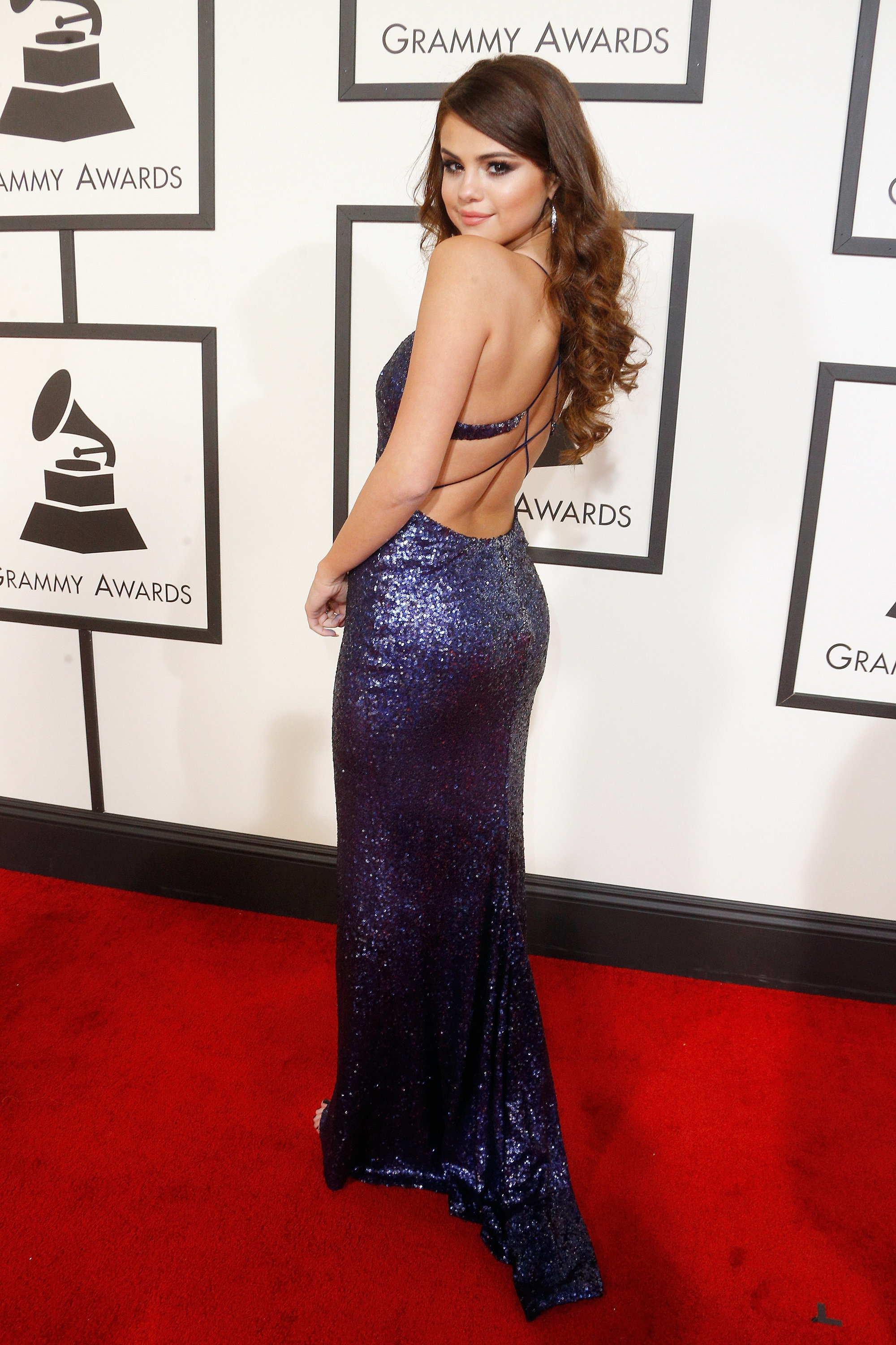 Selena Gomez.Grammy 2016 Backless Evening Dress Red Carpet ...
