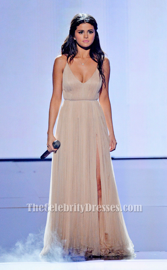 Selena Gomez Champagne Evening Prom Dress 2014 American Music ...