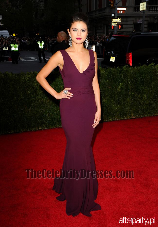Selena Gomez Grape Prom Dress Met Gala 2017 Red Carpet Thecelebritydresses