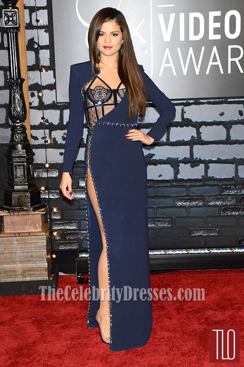 selena gomez navy blue prom dress 2013 mtv vmas red carpet