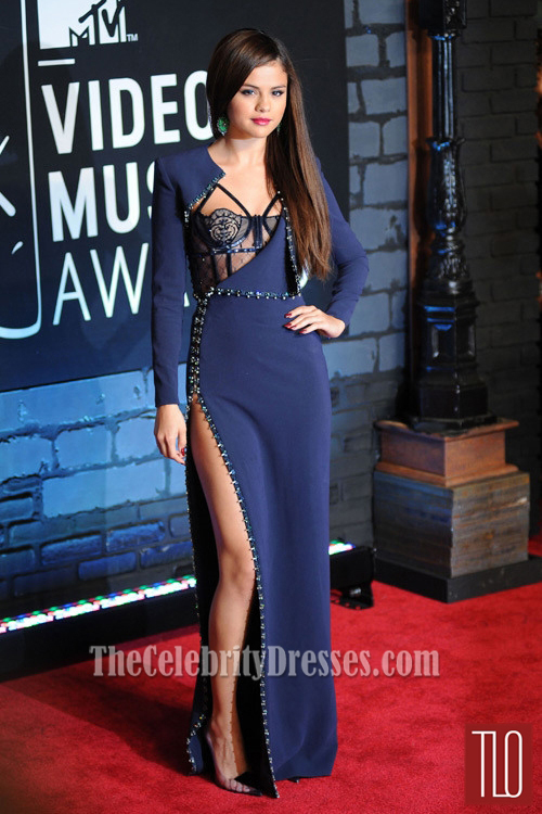 Selena Gomez Navy Blue Prom Dress 2013 MTV VMAs Red Carpet ...