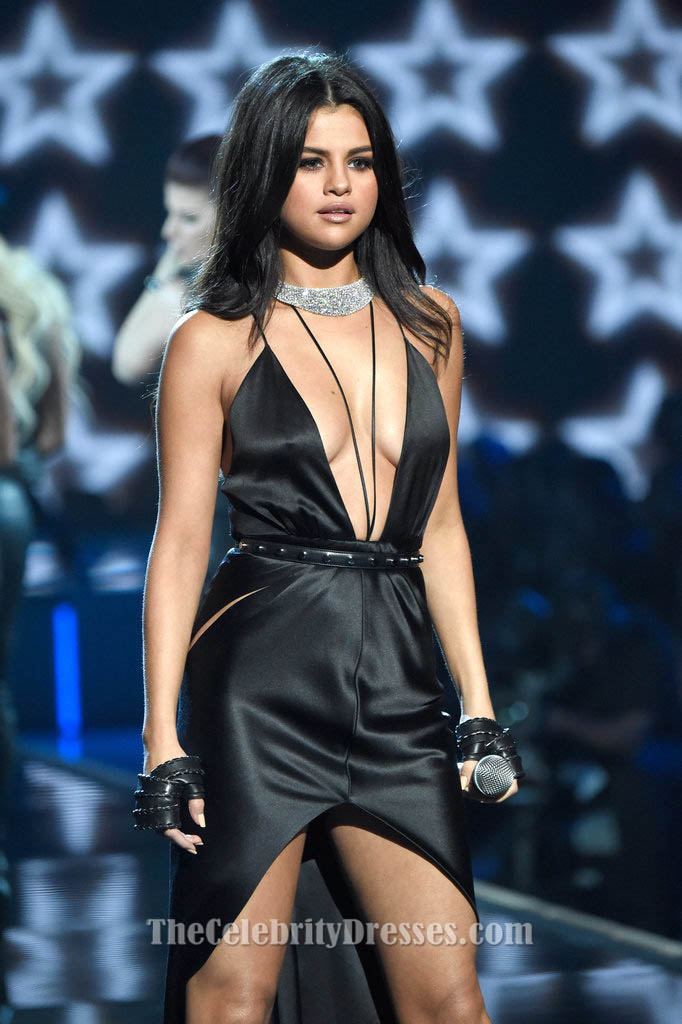 Selena Gomez Sexy Black Dress 2015 Victoria's Secret Fashion Show ...