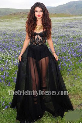 "d0f6950ec5e Selena Gomez Sexy Black Prom Dress Video Shoot for ""Come   Get It"" -  TheCelebrityDresses"
