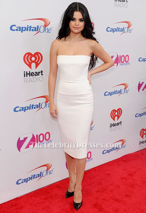 Selena Gomez White Cocktail Dress Z100 S Jingle Ball 2015