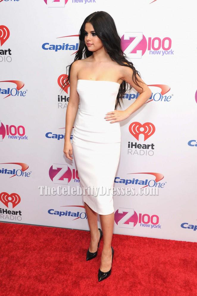 Selena Gomez White Cocktail Dress Z100s Jingle Ball 2015 Red Carpet