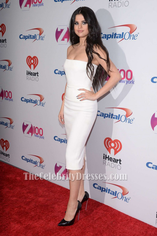selena gomez white cocktail dress z100�s jingle ball 2015