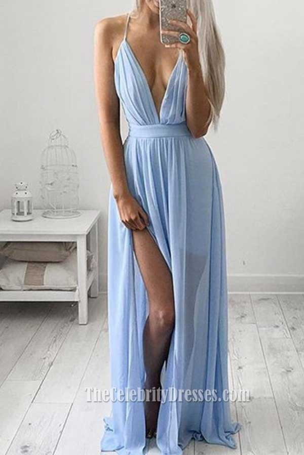 sexy low cut sky blue evening gown prom dress with a high