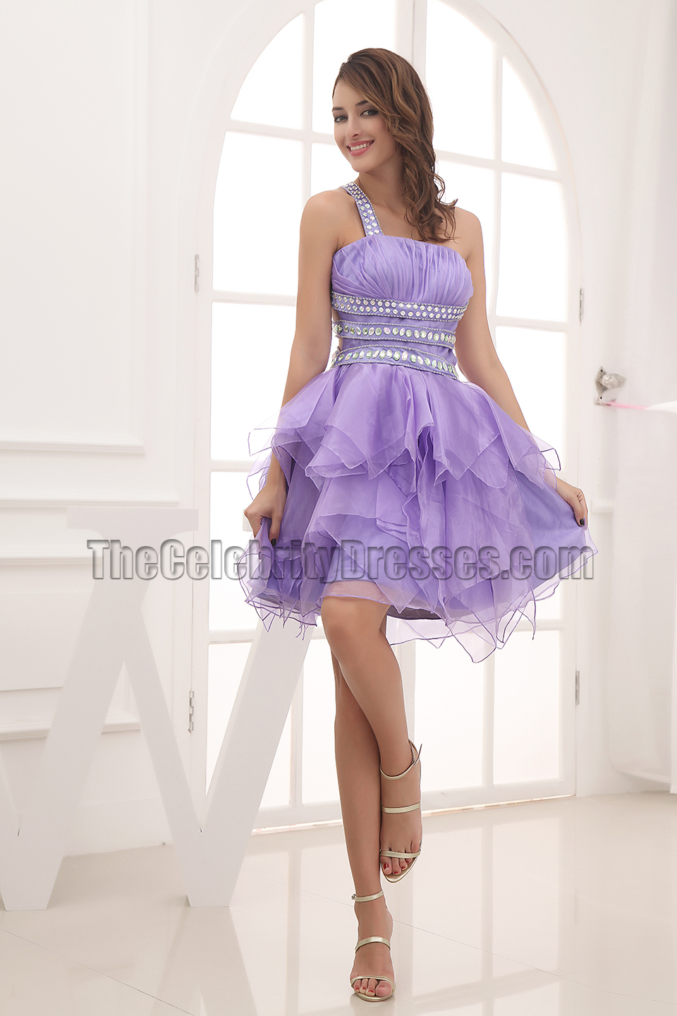Sexy Backless Beaded Lavender Party Homecoming Dresses ...