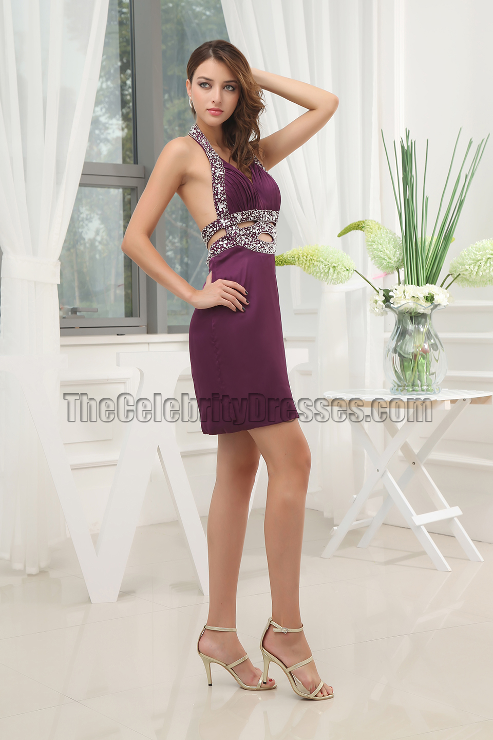 Sexy purple cocktail dress