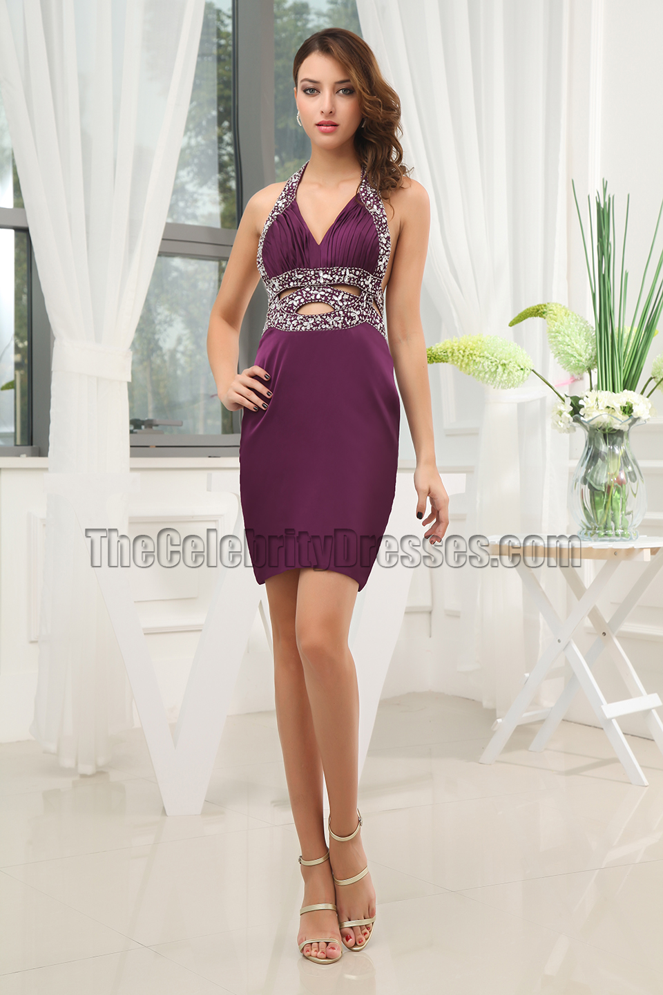 228e265885f Sexy Cut Our Purple Party Cocktail Homecoming Dresses ...