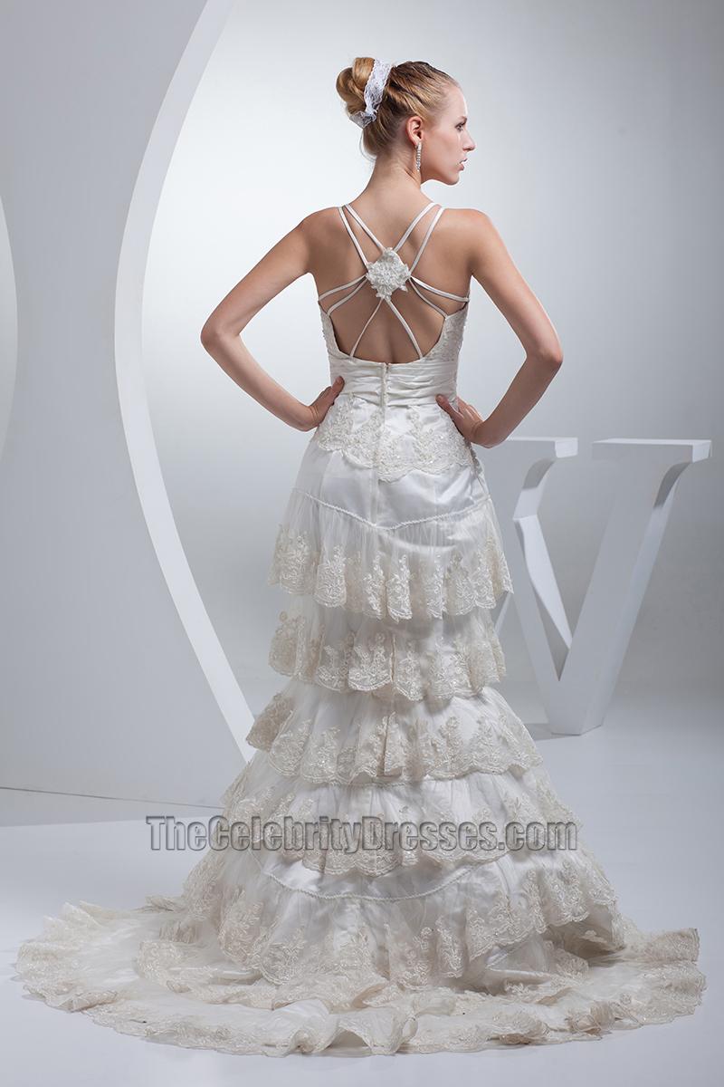 Sexy Backless Sweep/ Brush Train A-Line Wedding Dress ... - photo #25