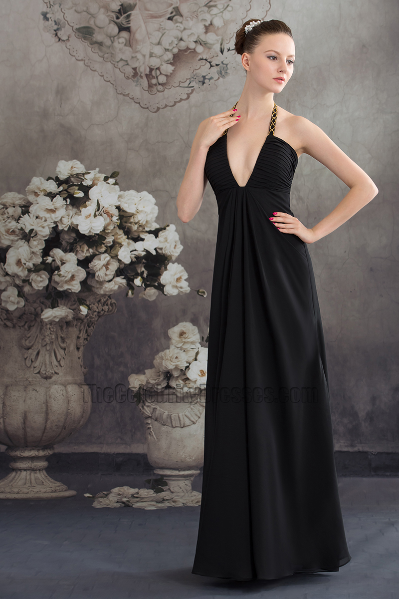 3939fb4eb57 Sexy Black Deep V-Neck Chiffon Evening Gown Prom Dress - TheCelebrityDresses