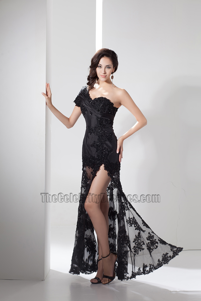 Sexy Black Lace One Shoulder Evening Dress Prom Gown ...