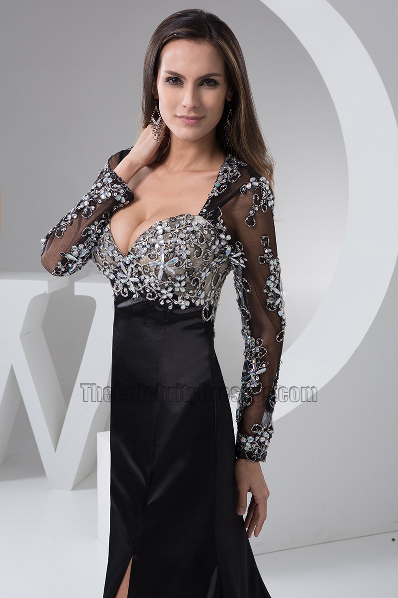 Sexy Black Long Sleeve Formal Dress Evening Gown ...