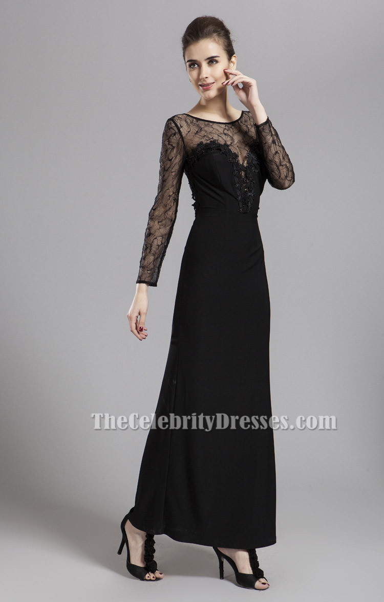 Sexy Black Long Sleeve Lace Prom Gown Evening Dresses ...