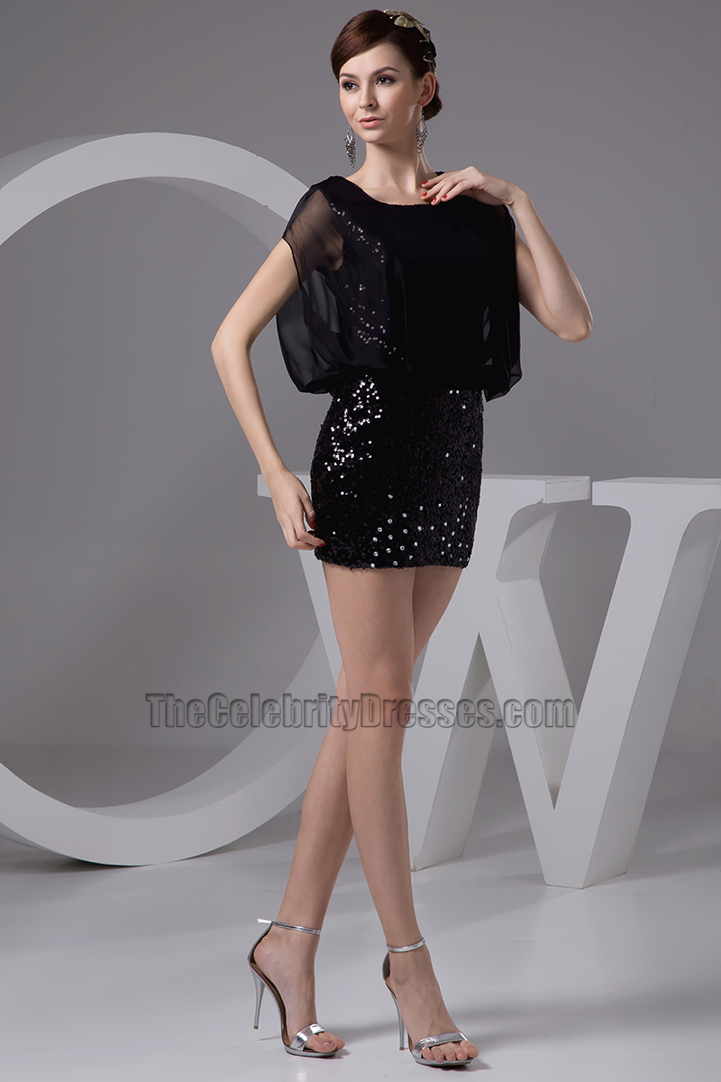 Sexy Black Mini Sequined Party Homecoming Dresses - TheCelebrityDresses