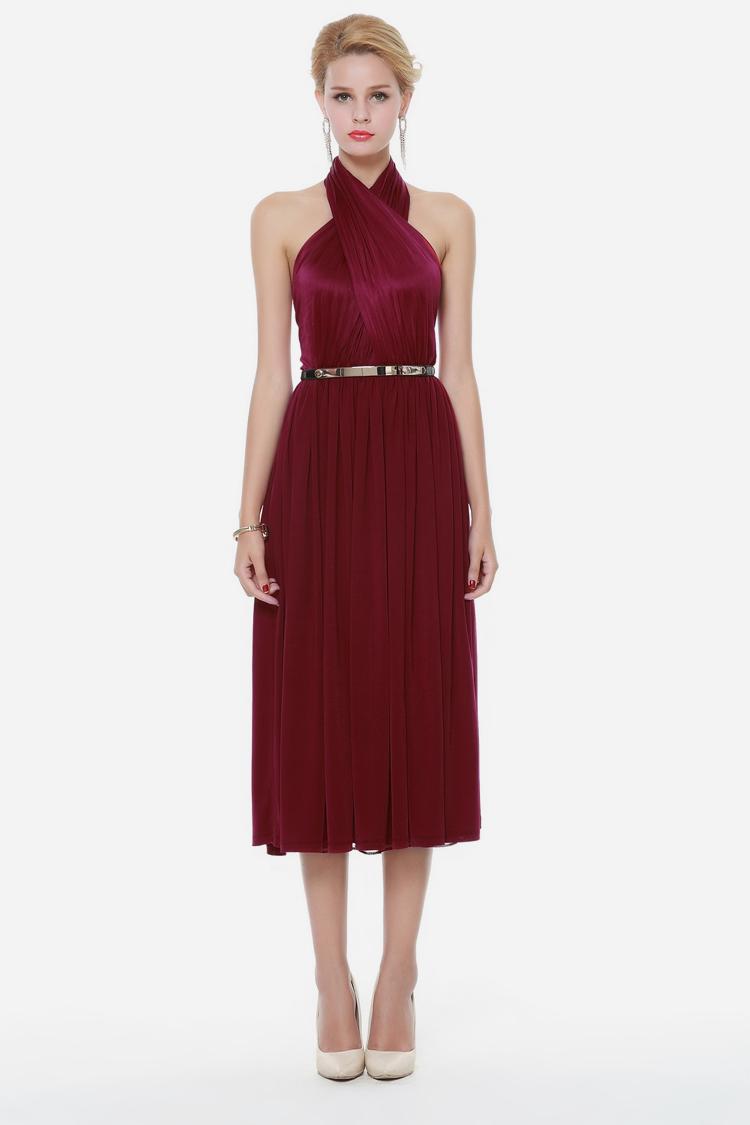 sexy burgundy a line halter cocktail party dresses. Black Bedroom Furniture Sets. Home Design Ideas