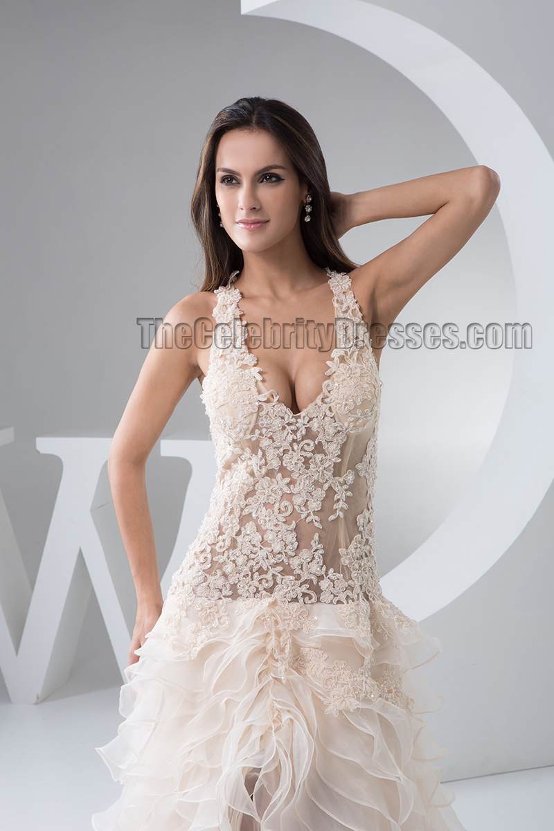 Sexy Champagne Backless Hi Low Bridal Gown Wedding Dress ...