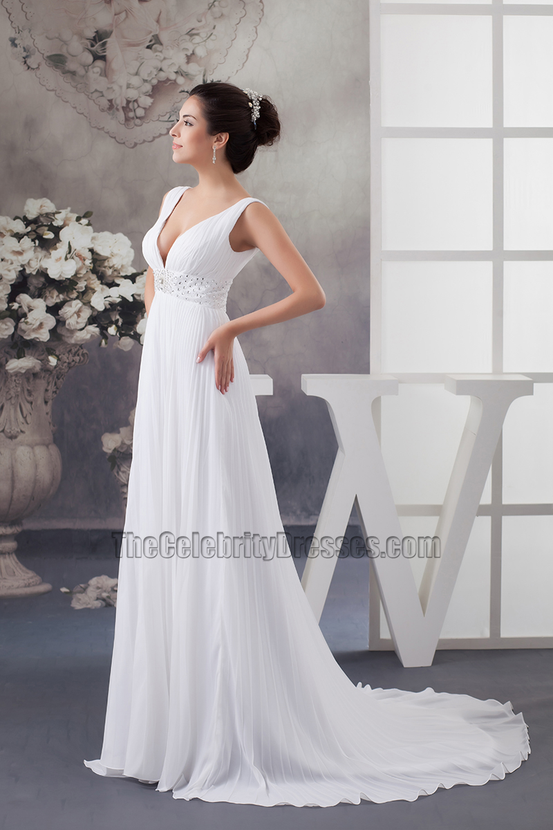 Sexy Chapel Train Deep V-Neck A-Line Chiffon Wedding Dress ...