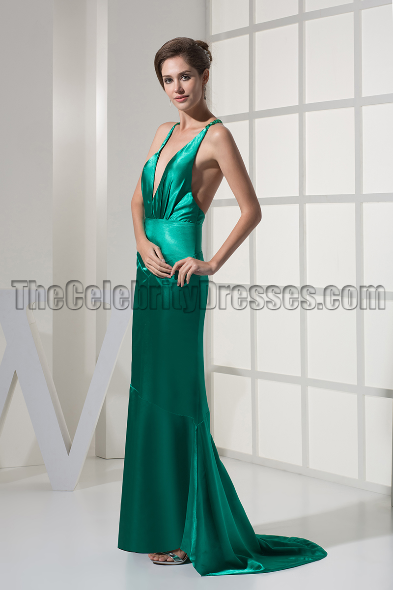 6eeedb083549 Sexy Deep V-Neck Backless Evening Gown Prom Dresses - TheCelebrityDresses