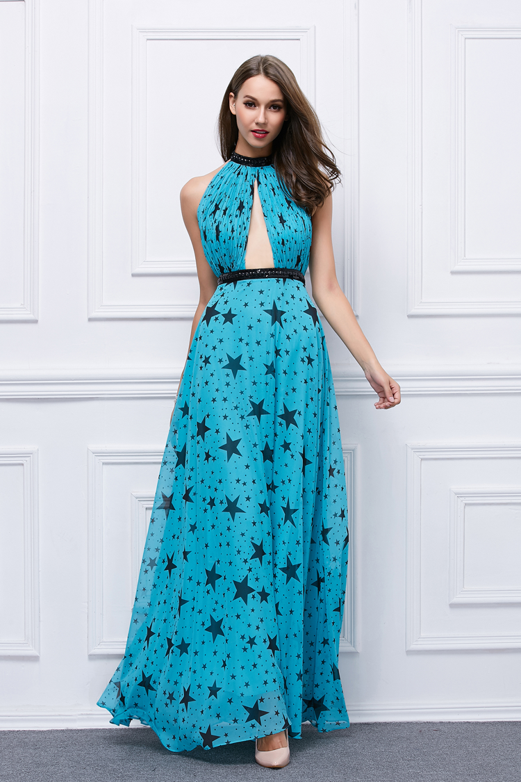 Sexy Long Blue Star Pattern Backless Evening Gown Prom Dresses ...