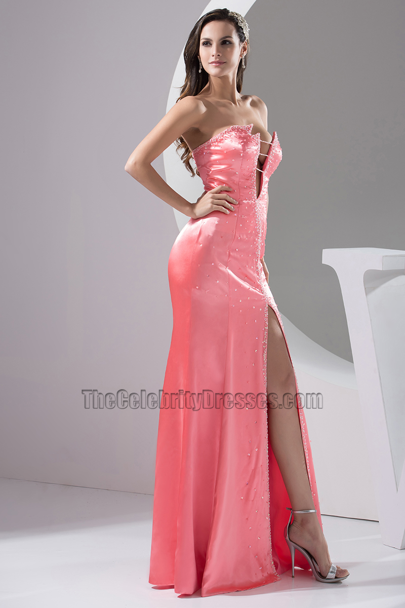 6b1604f3e30 Sexy Pink Strapless Floor Length Evening Gown Prom Dress -  TheCelebrityDresses