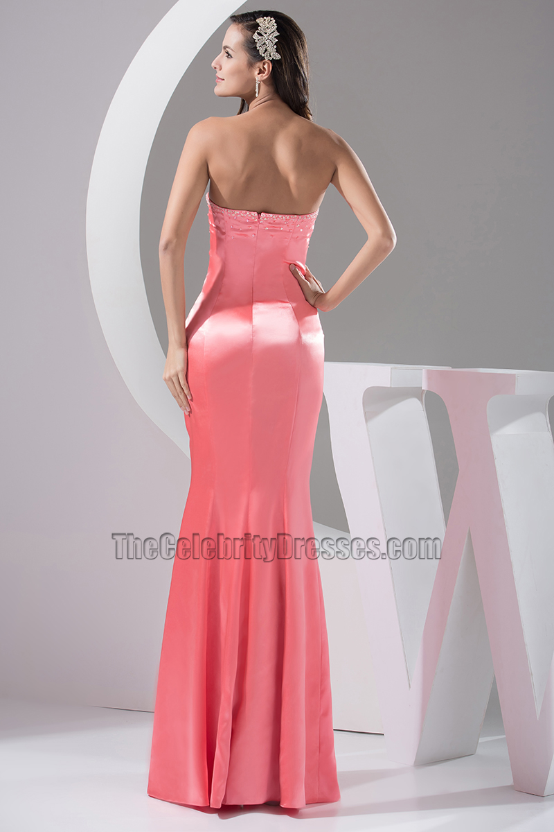 Sexy Pink Strapless Floor Length Evening Gown Prom Dress ...