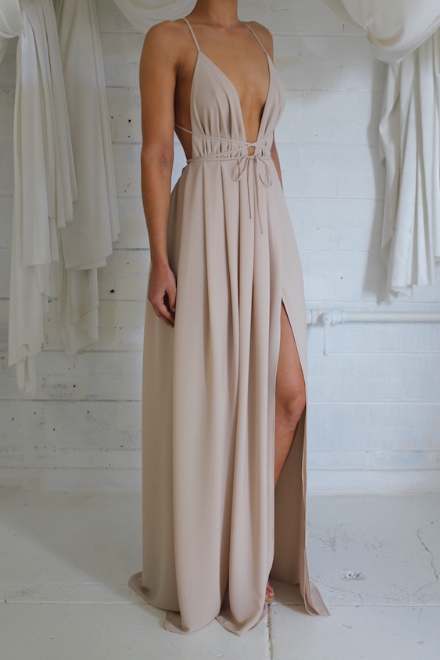 Sexy Plunging V-neck Evening Dress Backless Halter Prom Gown TS6660 ...