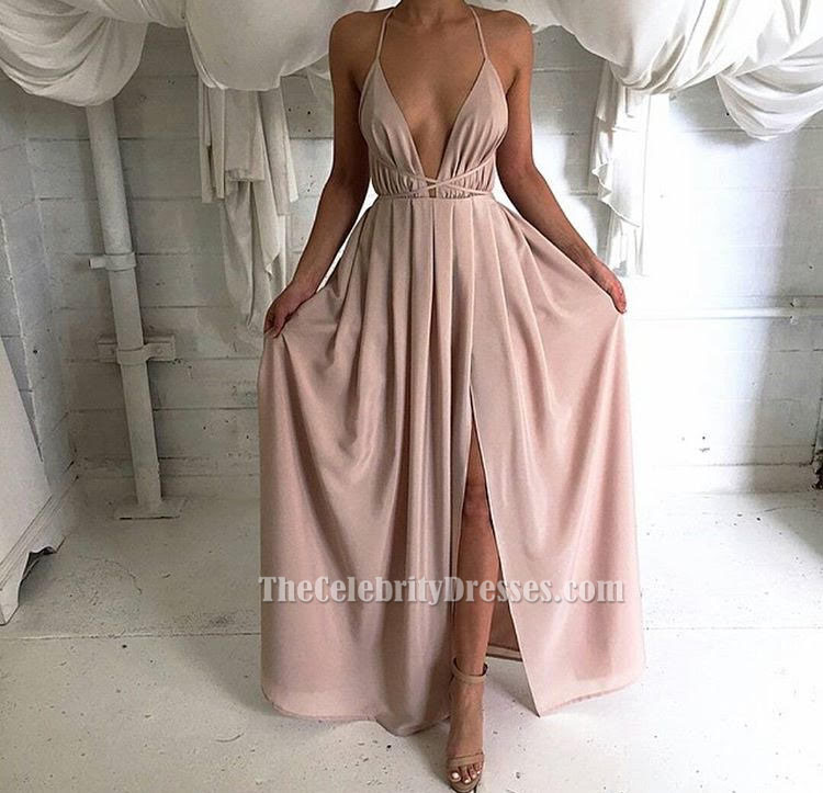 Sexy Plunging V-neck Evening Dress Backless Halter Prom Gown ...