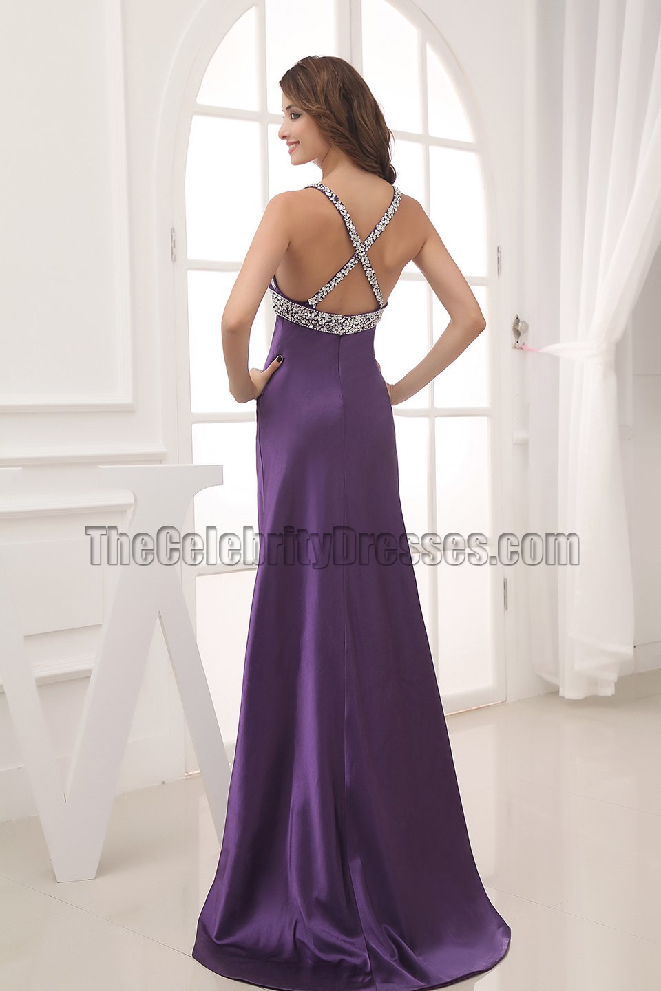 Celebrity Inspired Purple Backless Evening Gown Prom