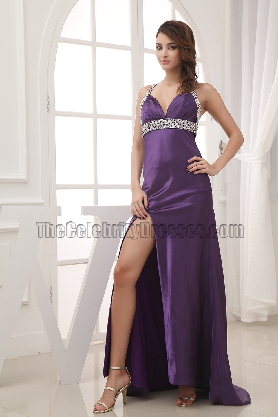 Celebrity Inspired Purple Backless Evening Gown Prom Dresses ...