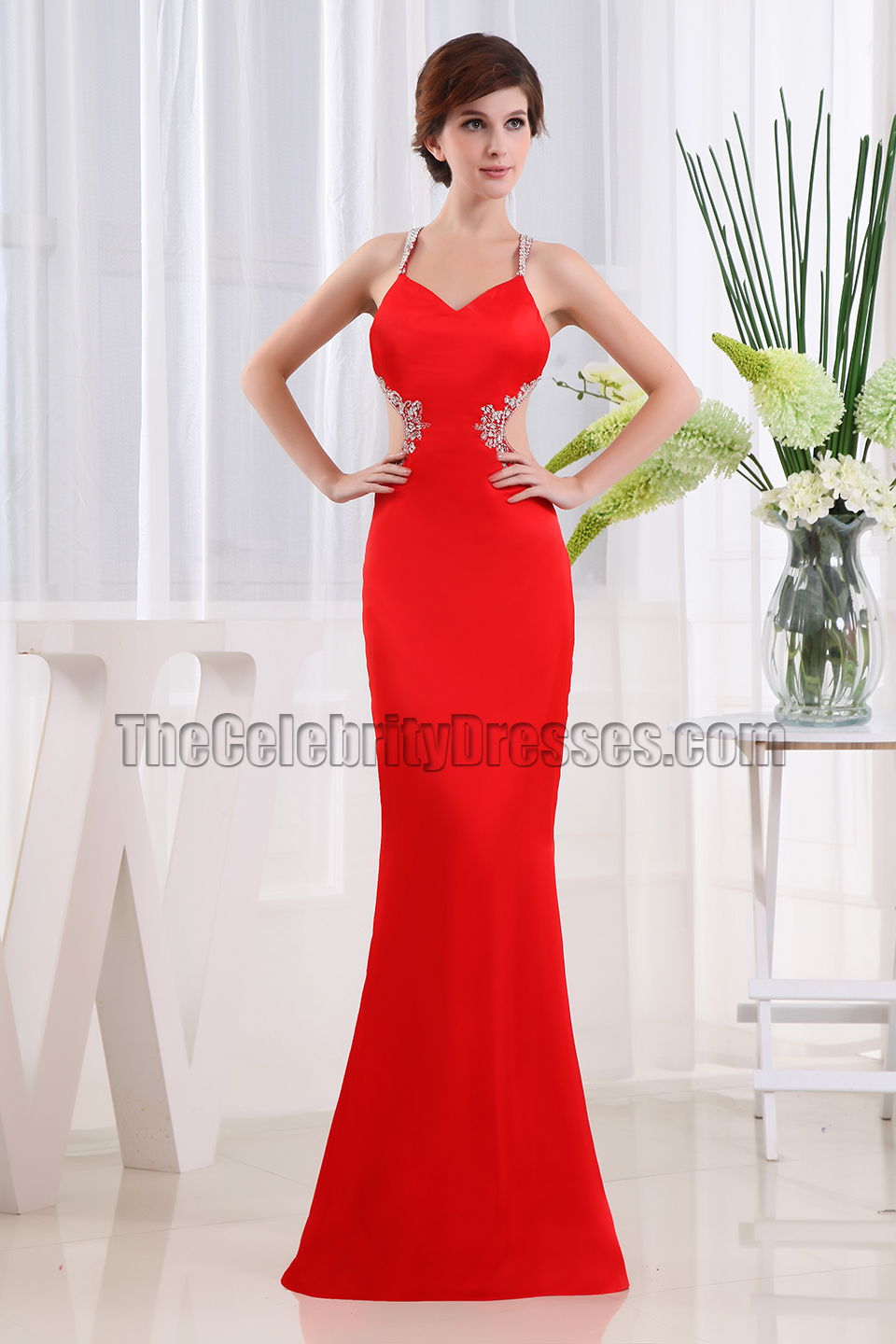 Sexy Red Long Backless Prom Dress Evening Gowns Thecelebritydresses