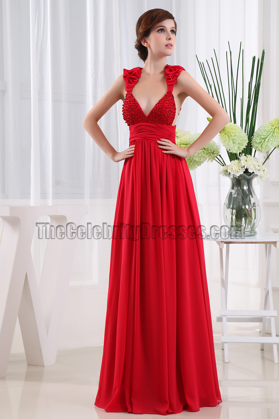 Sexy Red Deep V-neck Backless Evening Dress Prom Gown ...