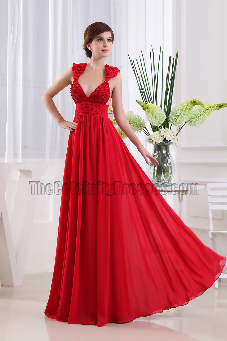 Sexy red dress evening gown and