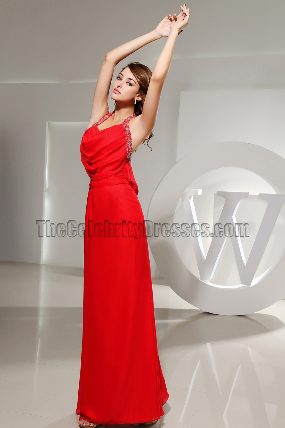 Sexy Red Halter Backless Evening Dress Prom Gowns ...