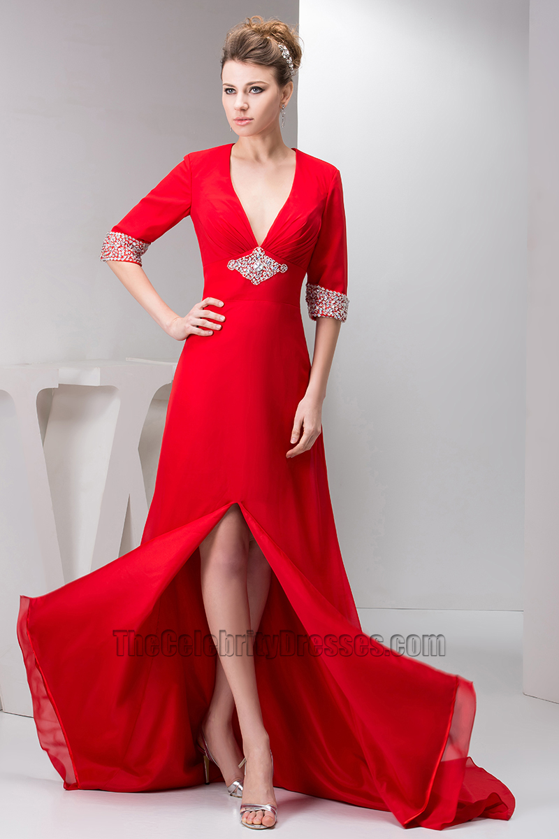 Sexy Red V-Neck Beaded Formal Dress Evening Gowns - TheCelebrityDresses