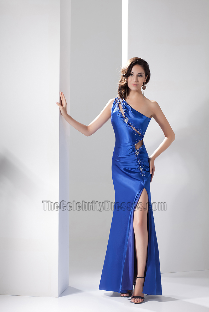 sexy royal blue cut out one shoulder evening dress prom
