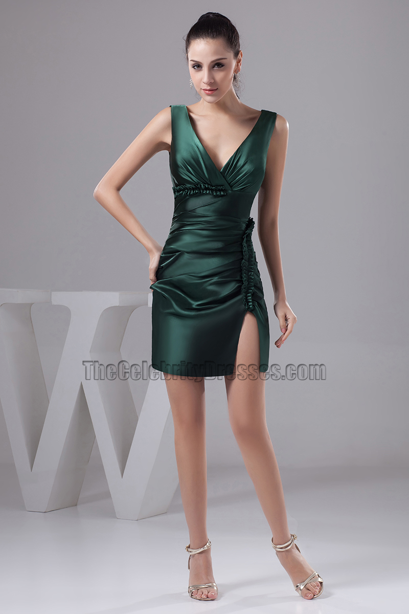 Sexy Short Dark Green V-Neck Party Cocktail Dresses ...