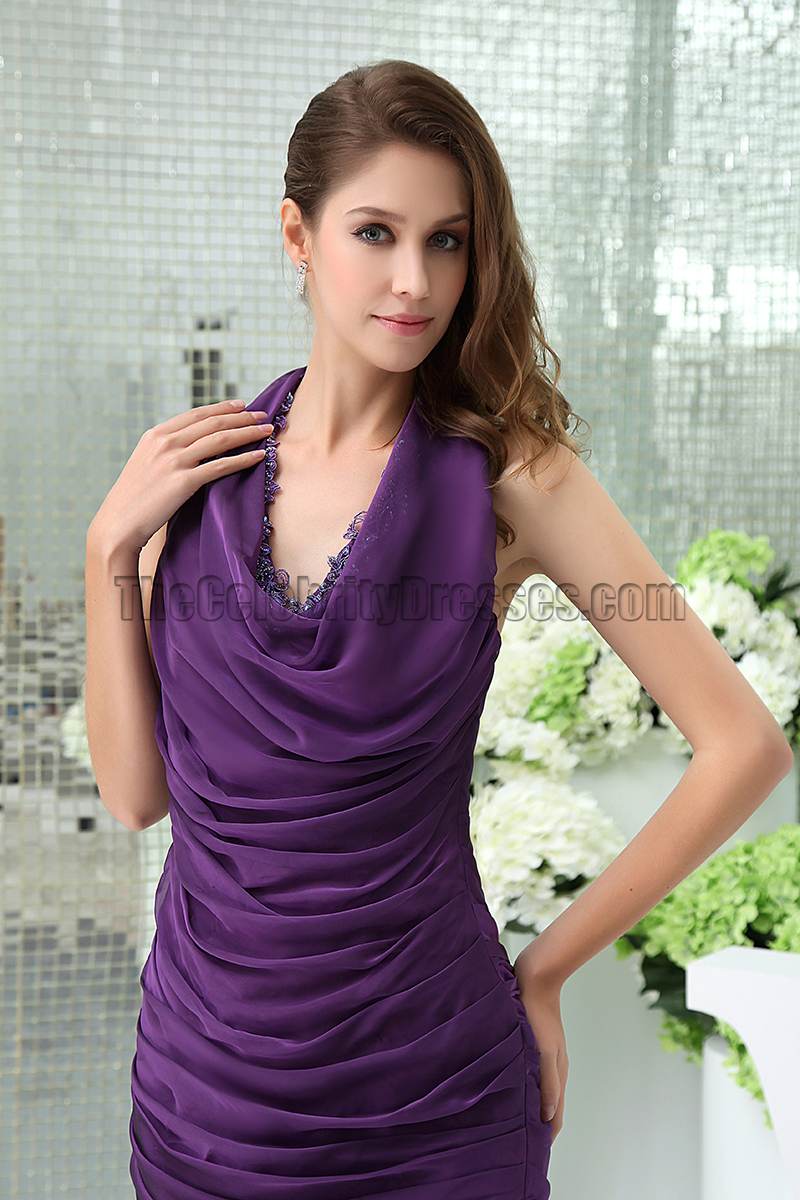 Sexy Short Mini Purple Halter Party Cocktail Dresses ...