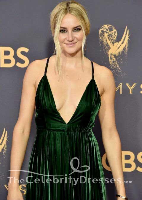 Shailene Woodley Green Evening Dress 2017 Emmy Awards Red