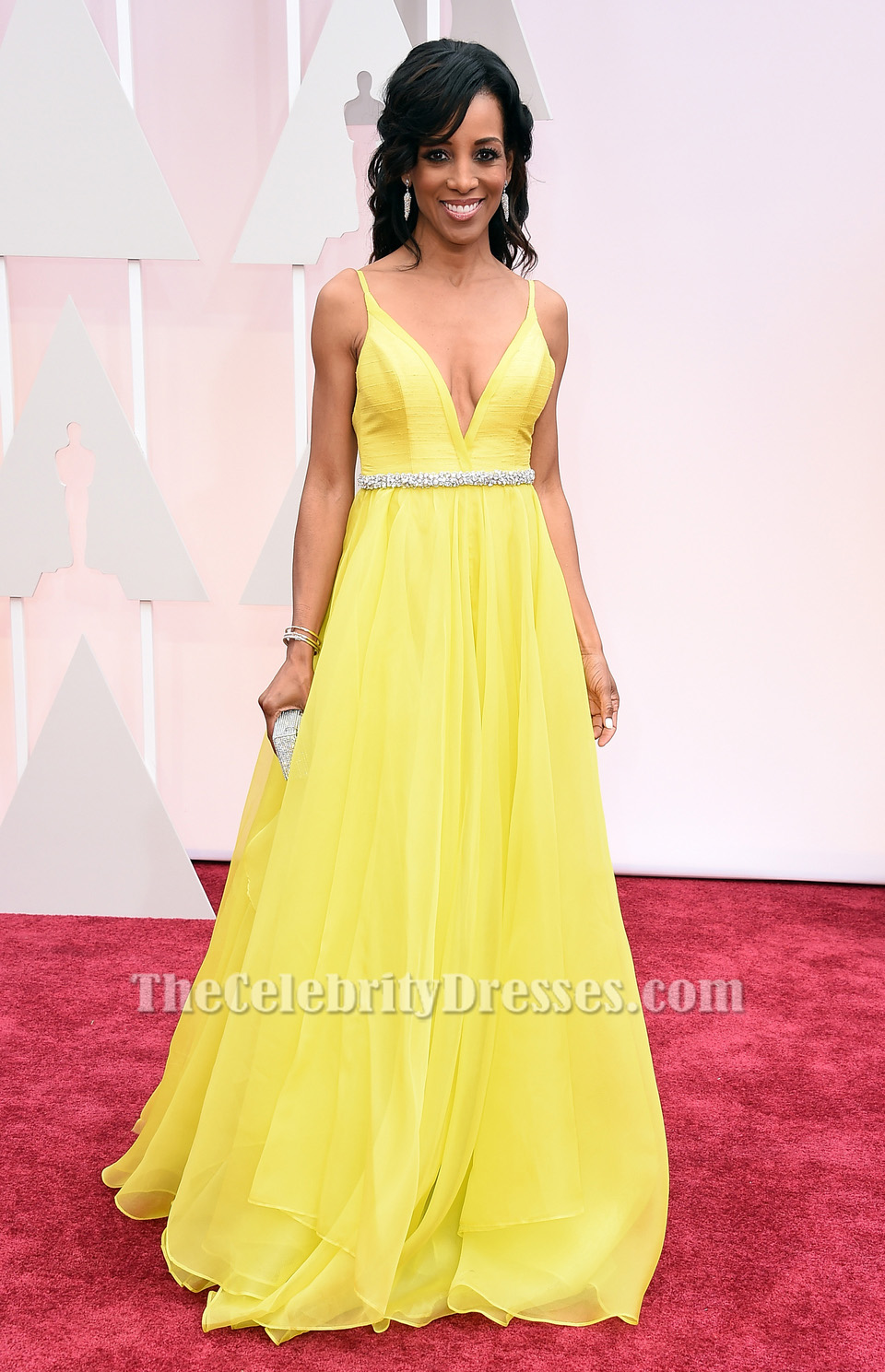 Shaun robinson oscar awards 2015 red carpet yellow chiffon prom dress thecelebritydresses - Dresses from the red carpet ...