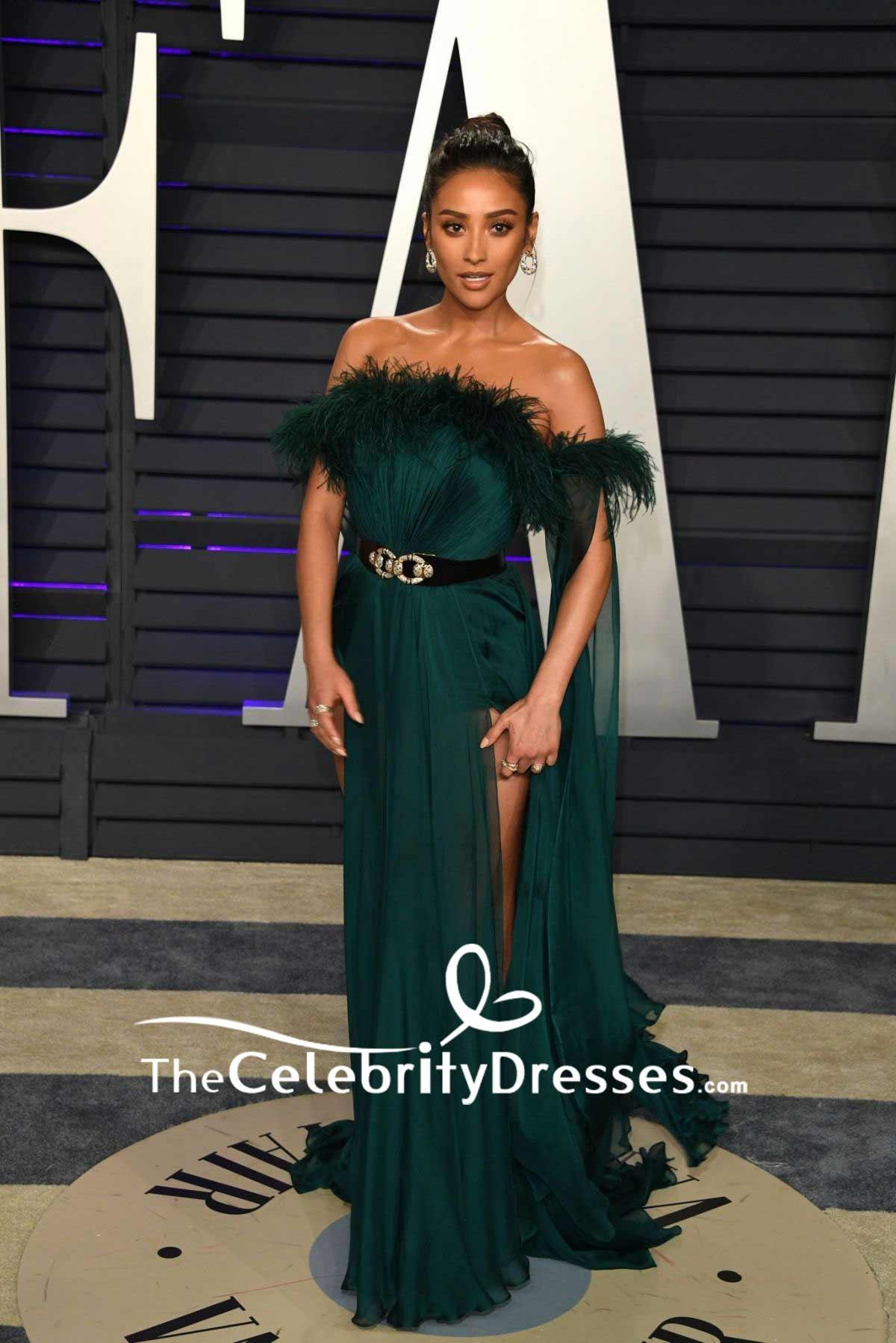 Shay Mitchell Dark Green Off The Shoulder Thigh High Slit Evening Dress 2019 Vanity Fair Oscar Party Thecelebritydresses