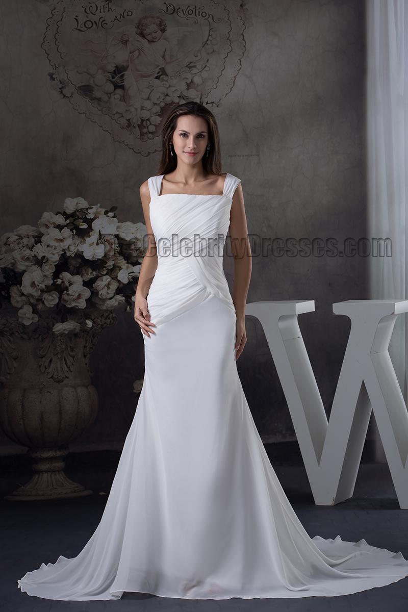 Sheath column sexy backless chiffon chapel train wedding for Sexy sheath wedding dress