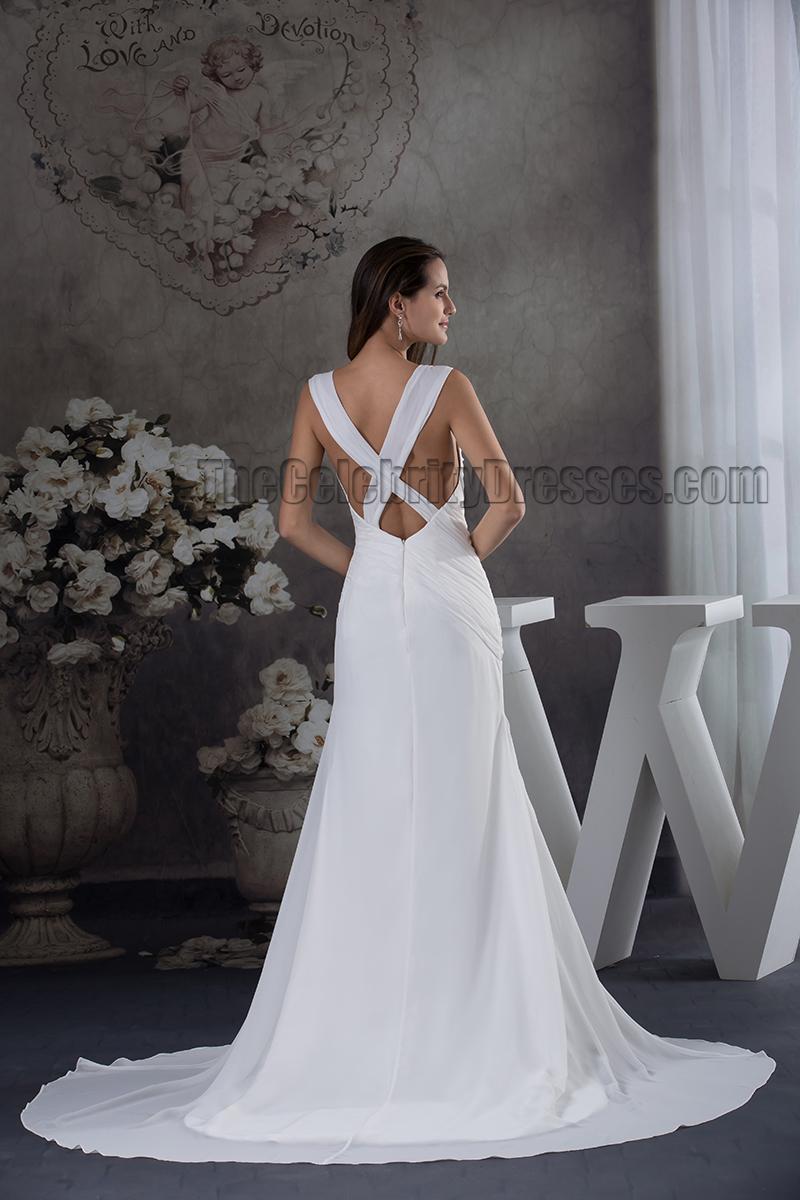 Sheath column sexy backless chiffon chapel train wedding for Chapel train wedding dress