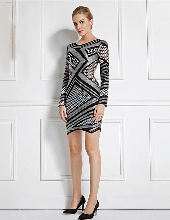 Sheath Long Sleeve Short Party Dress Bandage Cocktail Dresses ...