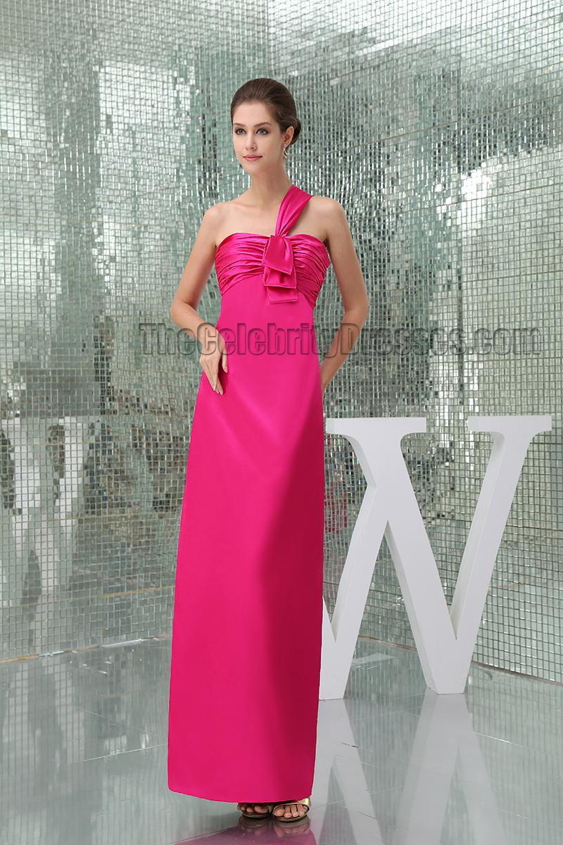 Sheath/Column Fuchsia One Shoulder Prom Gown Evening Dress ...